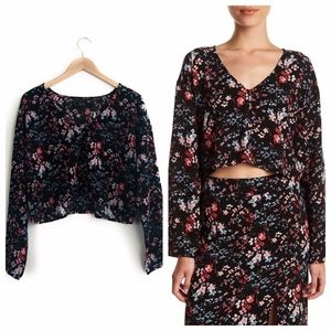 FREE PRESS Floral Long Sleeve Cropped Blouse